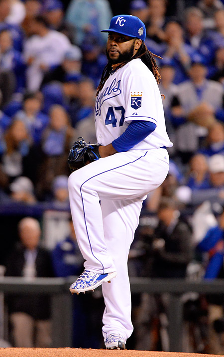 Royals starter Johnny Cueto made all the right moves, some reminiscent of Red Sox great Luis Tiant, during Game Two of the 2015 World Series at Kaufmann Stadium in Kansas City, MO. (Photo by Ron Vesely/MLB Photos)