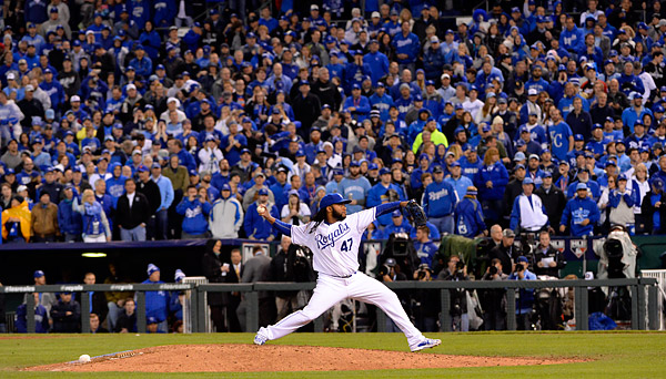 Johnny Cueto was the story of Game Two, twirling a complete game, two hitter against the New York Mets during Game Two of the 2015 World Series at Kaufmann Stadium in Kansas City, MO. (Photo by Ron Vesely/MLB Photos)