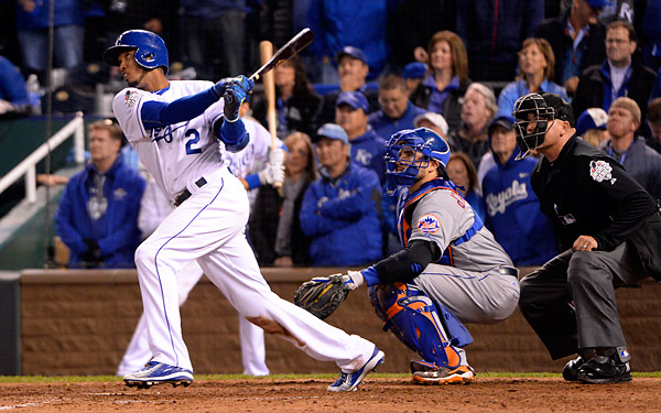 Royals shortstop Alcides Escobar connects for an RBI triple in the eight inning during Game Two of the 2015 World Series at Kaufmann Stadium in Kansas City, MO. (Photo by Ron Vesely/MLB Photos)