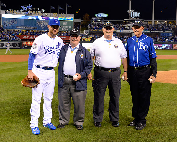 Congressional Medal of Honor receipts Don Ballard, Charles Hagemeister and Roger Donlon were honored prior to Game Two of the 2015 World Series at Kaufmann Stadium in Kansas City, MO. (Photo by Ron Vesely/MLB Photos)