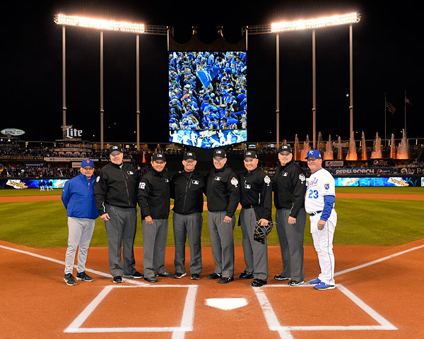 Home Plate - Mark Carlson, First Base - Mike Winters, Second Base - Jim Wolf, Third Base - Alfonso Marquez, Left Field - Gary Cederstrom, Right Field - Bill Welke pose for a photo with Mets Manager Terry Collins and Royals Third Base Coach Mike Jirschele pose for a photo prior to Game Two of the 2015 World Series at Kaufmann Stadium in Kansas City, MO. (Photo by Ron Vesely/MLB Photos)