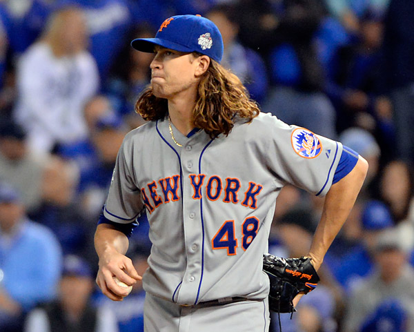 Mets starter Jacob deGrom got into trouble in the fourth inning during Game Two of the 2015 World Series at Kaufmann Stadium in Kansas City, MO. (Photo by Ron Vesely/MLB Photos)