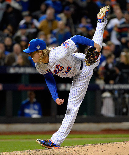 Noah Syndergaard pitched the Mets to a 9-3 win in Game Three of the 2015 World Series. (Photo by Ron Vesely/MLB Photos)