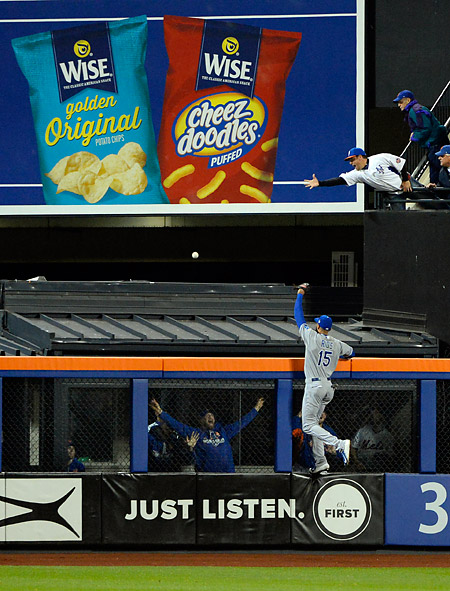 Royals outfielder Alez Rios watches the Mets Michael Conforto's first home run land during Game Four of the 2015 World Series. (Photo by Ron Vesely/MLB Photos)
