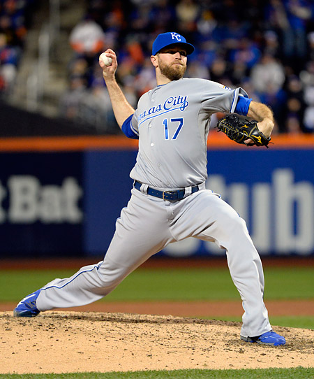 Wade Davis pitches for the Kansas City Royals during Game Four of the 2015 World Series. (Photo by Ron Vesely/MLB Photos)