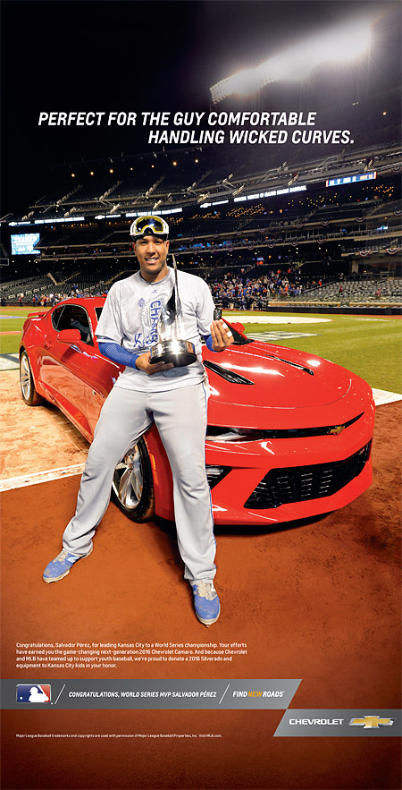 The ad that MLB produced with Chevrolet honoring World Series MLB Salvador Perez. (Copyright Major League Baseball)