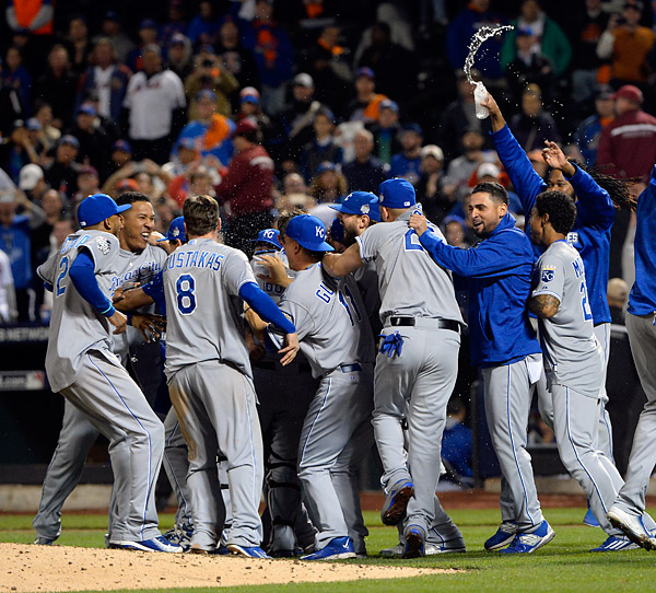 The Kansas City Royals celebrate on the field after winning the 2015 World Series, defeating the New York Mets four games to one on November 1, 2015 at Citi Field in Queens, New York.during Game Five of the 2015 World Series. (Photo by Ron Vesely/MLB Photos)