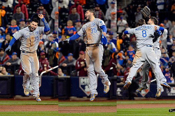 Kansas City Royals first baseman Eric Hosmer celebrates after the final out of the 2015 World Series on November 1, 2015 at Citi Field in Queens, New York.during Game Five of the 2015 World Series. (Photo by Ron Vesely/MLB Photos)