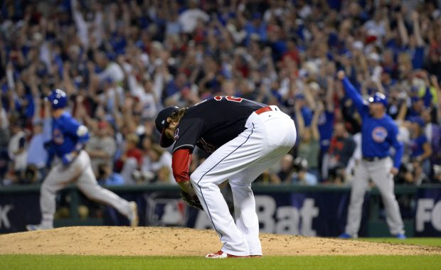 CLEVELAND, OH - NOVEMBER 2: Andrew Miller #24 of the Cleveland Indians reacts after David Ross #3 of the Chicago Cubs hit a solo home run in the sixth inning during Game 7 of the 2016 World Series against the Chicago Cubs at Progressive Field on Wednesday, November 2, 2016 in Cleveland, Ohio. (Photo by Ron Vesely/MLB Photos via Getty Images)