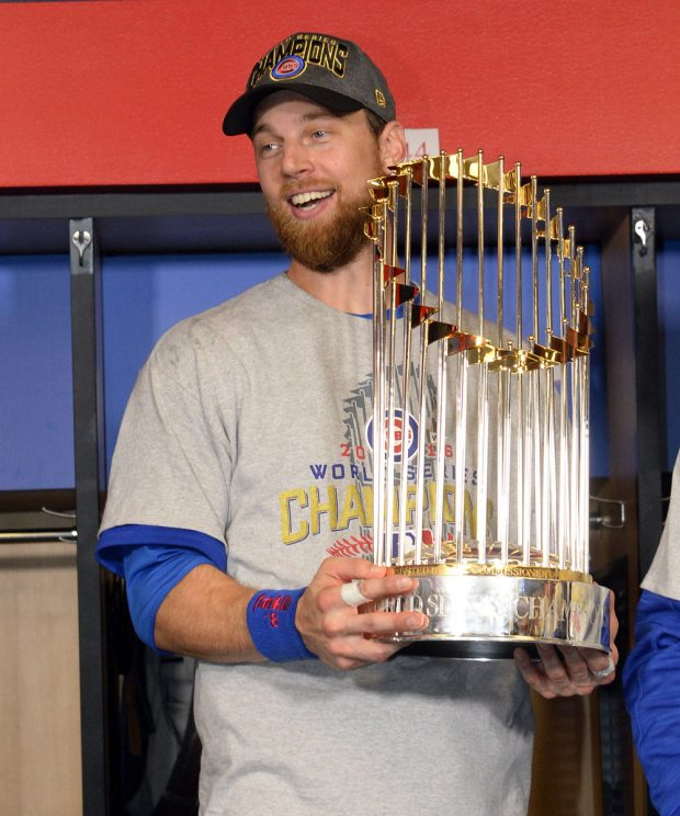 CLEVELAND, OH - NOVEMBER 2: World Series MVP Ben Zobrist celebrates after Game 7 of the 2016 World Series against the Cleveland Indians at Progressive Field on Wednesday, November 2, 2016 in Cleveland, Ohio. (Photo by Ron Vesely/MLB Photos via Getty Images)