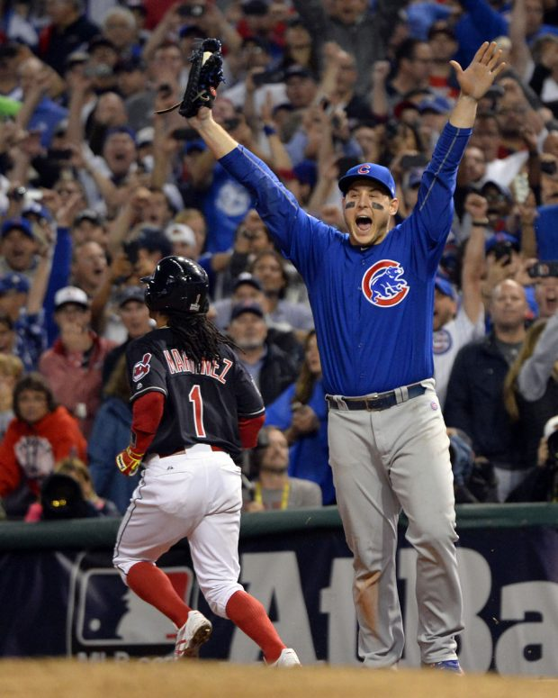 CLEVELAND, OH - NOVEMBER 2: Anthony Rizzo #44 of the Chicago Cubs reacts after recording the final out of Game 7 of the 2016 World Series against the Cleveland Indians at Progressive Field on Wednesday, November 2, 2016 in Cleveland, Ohio. (Photo by Ron Vesely/MLB Photos via Getty Images)