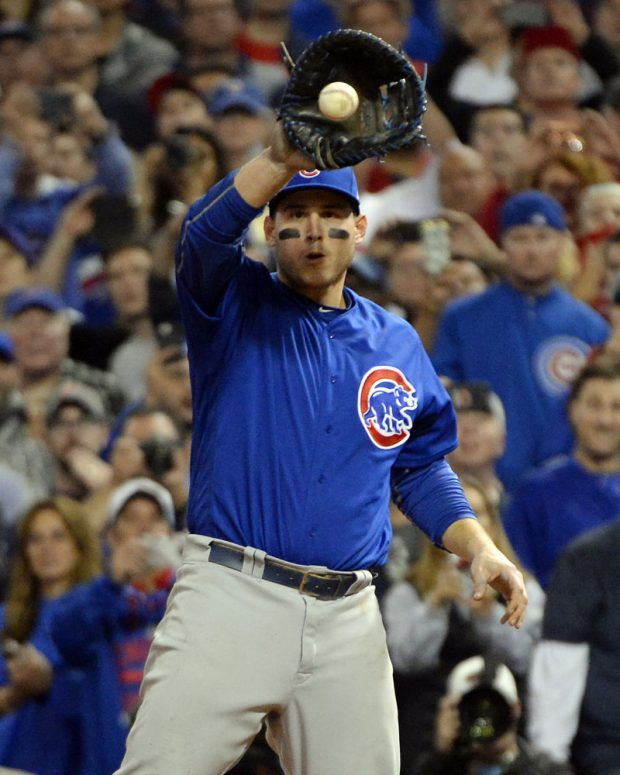 CLEVELAND, OH - NOVEMBER 2: Anthony Rizzo #44 of the Chicago Cubs catches the ball to record the final out of Game 7 of the 2016 World Series against the Cleveland Indians at Progressive Field on Wednesday, November 2, 2016 in Cleveland, Ohio. (Photo by Ron Vesely/MLB Photos via Getty Images)