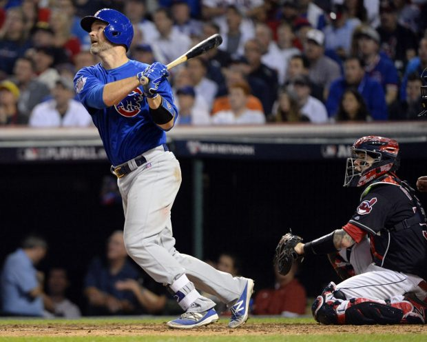CLEVELAND, OH - NOVEMBER 2: David Ross #3 of the Chicago Cubs hits a solo home run in the sixth inning during Game 7 of the 2016 World Series against the Cleveland Indians at Progressive Field on Wednesday, November 2, 2016 in Cleveland, Ohio. (Photo by Ron Vesely/MLB Photos via Getty Images)