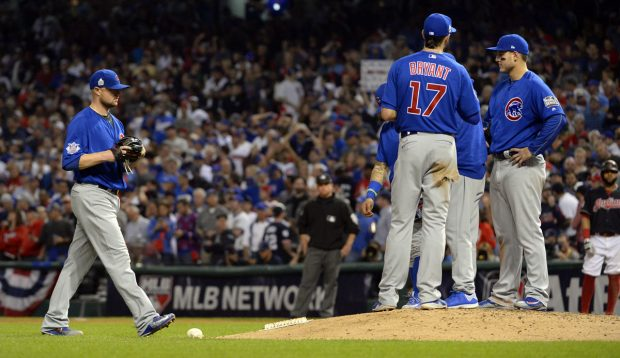 CLEVELAND, OH - NOVEMBER 2: Jon Lester #34 of the Chicago Cubs takes the mound in the bottom of the fifth inning of Game 7 of the 2016 World Series against the Cleveland Indians at Progressive Field on Wednesday, November 2, 2016 in Cleveland, Ohio. (Photo by Ron Vesely/MLB Photos via Getty Images)