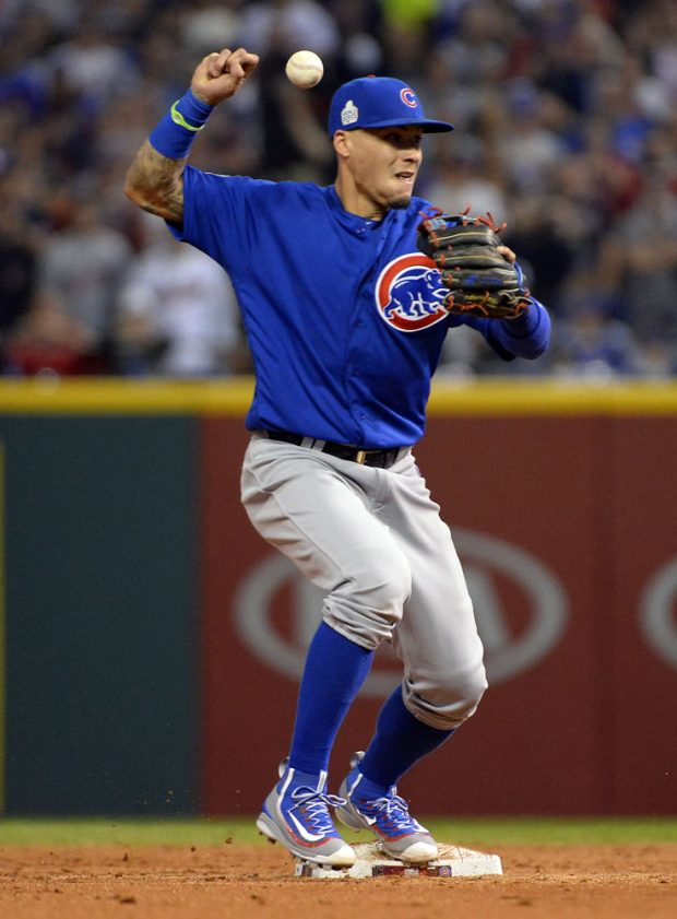 CLEVELAND, OH - NOVEMBER 2: Javier Baez #9 oft the Chicago Cubs misses a catch in the bottom of the third inning of Game 7 of the 2016 World Series against the Cleveland Indians at Progressive Field on Wednesday, November 2, 2016 in Cleveland, Ohio. (Photo by Ron Vesely/MLB Photos via Getty Images)