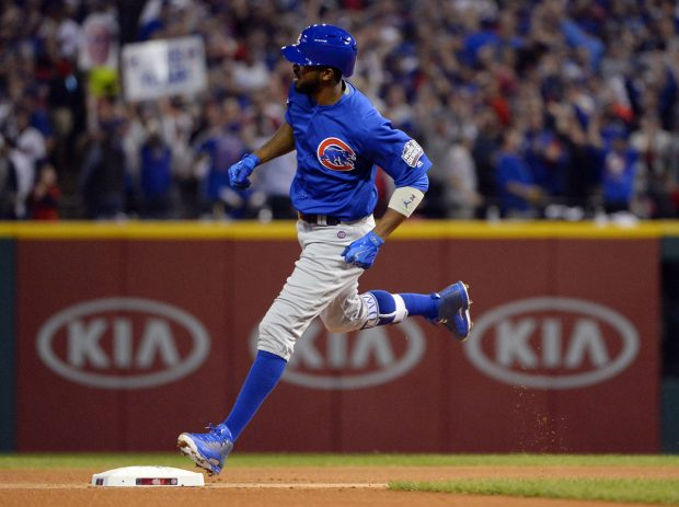 CLEVELAND, OH - NOVEMBER 2: Dexter Fowler #24 of the Chicago Cubs rounds the bases after hitting a solo home run in the first inning of Game 7 of the 2016 World Series against the Cleveland Indians at Progressive Field on Wednesday, November 2, 2016 in Cleveland, Ohio. (Photo by Ron Vesely/MLB Photos via Getty Images)