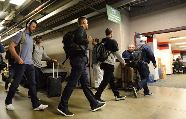 CLEVELAND, OH - NOVEMBER 2: Manager Joe Maddon, Ben Zobrist, Kris Bryant and other players enter the visitors locker room prior to Game 7 of the 2016 World Series against the Cleveland Indians at Progressive Field on Wednesday, November 2, 2016 in Cleveland, Ohio. (Photo by Ron Vesely/MLB Photos via Getty Images)