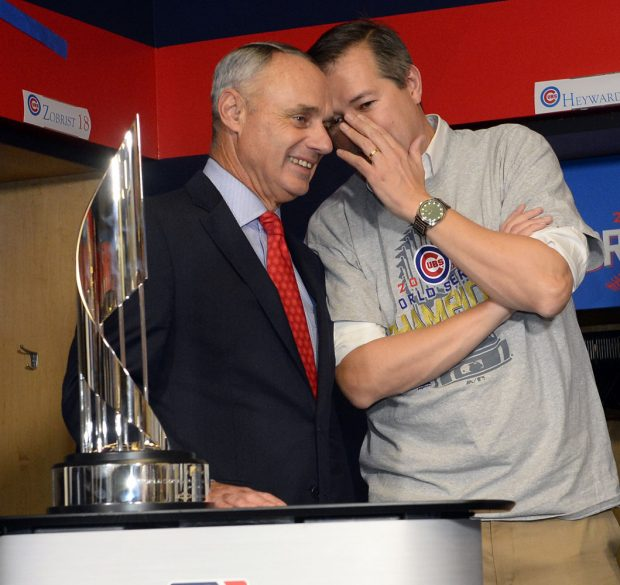 CLEVELAND, OH - NOVEMBER 2: Chicago Cubs Chairman and Owner Tom Ricketts talks with Major League Baseball Commissioner Rob Manfred after Game 7 of the 2016 World Series against the Cleveland Indians at Progressive Field on Wednesday, November 2, 2016 in Cleveland, Ohio. (Photo by Ron Vesely/MLB Photos via Getty Images)