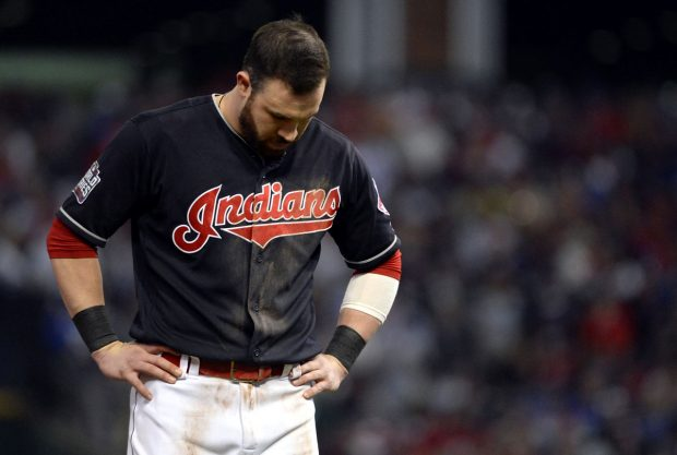 CLEVELAND, OH - NOVEMBER 2: Jason Kipnis #22 of the Cleveland Indians reacts to striking out to end the seventh inning during Game 7 of the 2016 World Series against the Chicago Cubs at Progressive Field on Wednesday, November 2, 2016 in Cleveland, Ohio. (Photo by Ron Vesely/MLB Photos via Getty
