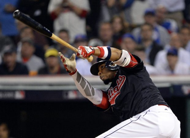 CLEVELAND, OH - NOVEMBER 2: Rajai Davis #20 of the Cleveland Indians hits a two-run home run in the eighth inning during Game 7 of the 2016 World Series against the Chicago Cubs at Progressive Field on Wednesday, November 2, 2016 in Cleveland, Ohio. (Photo by Ron Vesely/MLB Photos via Getty Images)