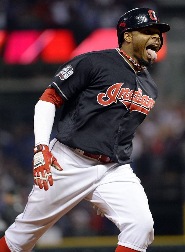 CLEVELAND, OH - NOVEMBER 2: Rajai Davis #20 of the Cleveland Indians reacts after hitting a two-run home run in the eighth inning during Game 7 of the 2016 World Series against the Chicago Cubs at Progressive Field on Wednesday, November 2, 2016 in Cleveland, Ohio. (Photo by Ron Vesely/MLB Photos via Getty Images)