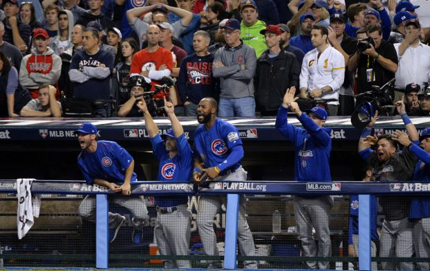 CLEVELAND, OH - NOVEMBER 2: The Chicago Cubs react after Ben Zobrist hit an RBI double during the tenth inning during Game 7 of the 2016 World Series against the Cleveland Indians at Progressive Field on Wednesday, November 2, 2016 in Cleveland, Ohio. (Photo by Ron Vesely/MLB Photos via Getty Images)
