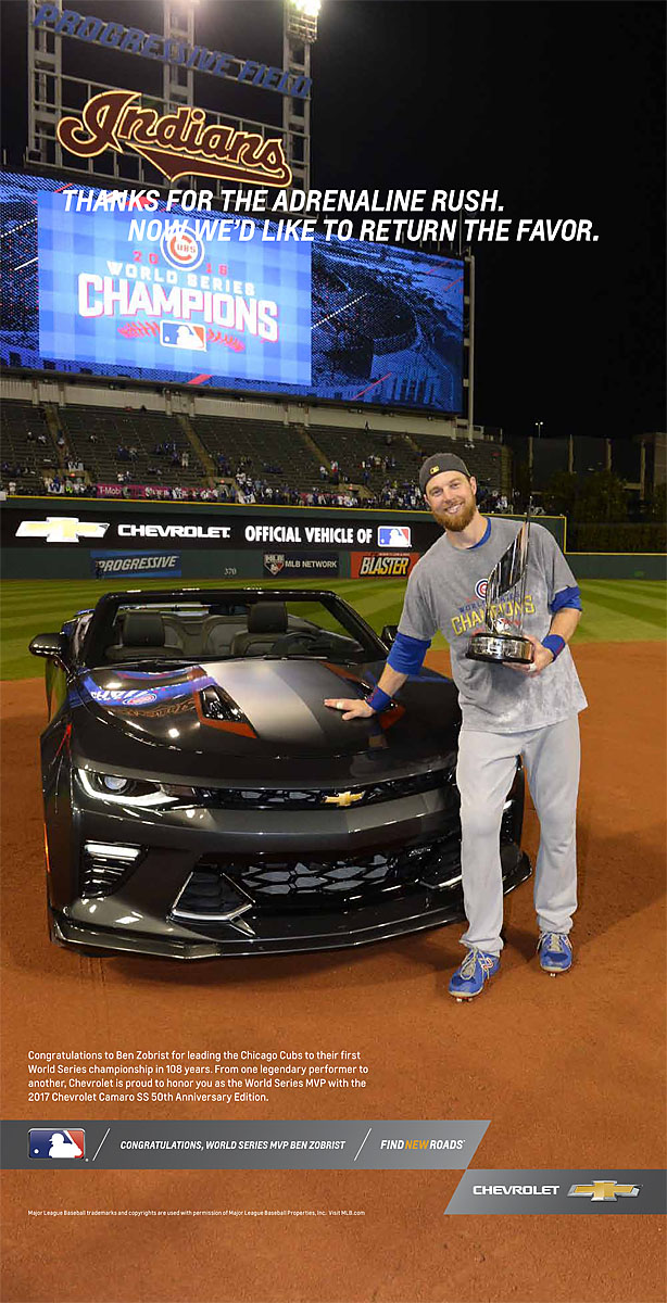 CLEVELAND, OH - NOVEMBER 2: World Series MVP Ben Zobrist poses with the Chevrolet Camaro he won after Game 7 of the 2016 World Series against the Cleveland Indians at Progressive Field on Wednesday, November 2, 2016 in Cleveland, Ohio. (Photo by Ron Vesely/MLB Photos via Getty Images)